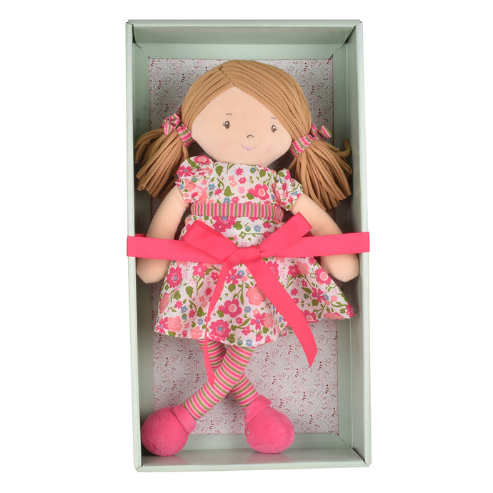 Fran - Light Brown Hair With Dark Pink & Green Dress - Tikiri Toys