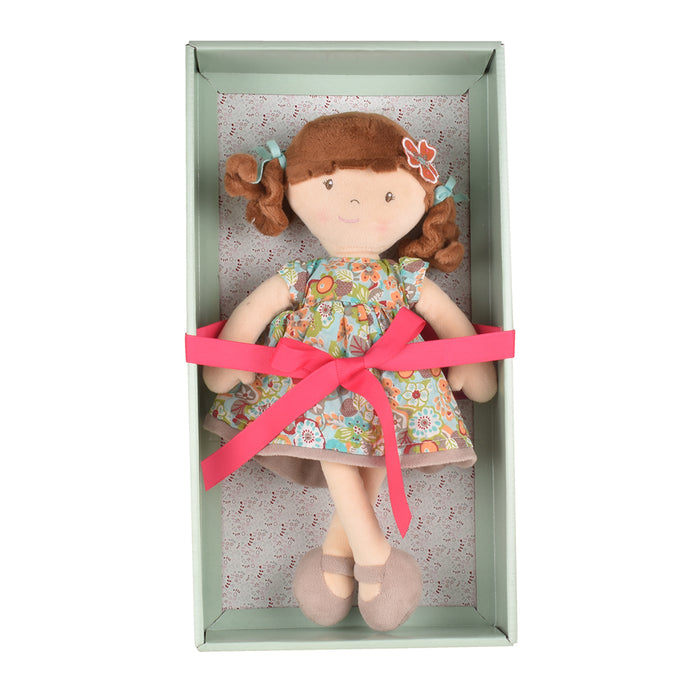 Summer  - Brunette Hair With Orange Floral Dress - Tikiri Toys