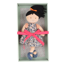 Tammy Lu - Black Hair With Blue Print Dress - Tikiri Toys