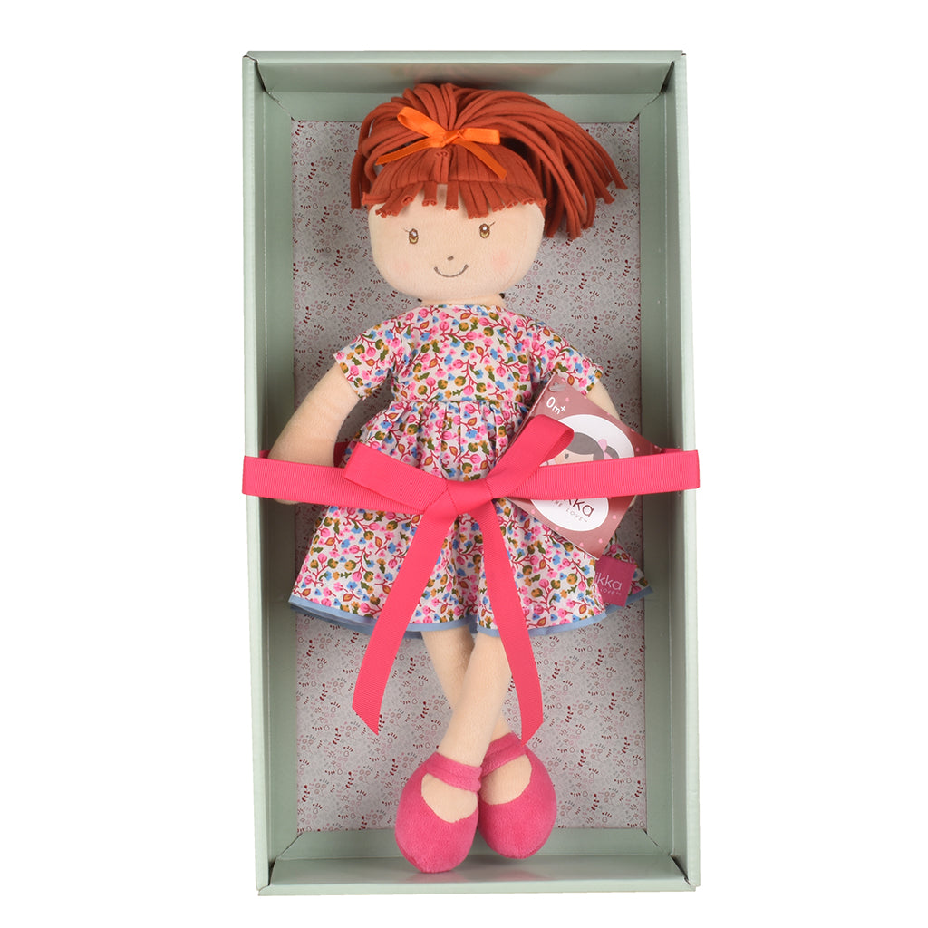 Emmy Lu - Orange Hair With Pink Print Dress - Tikiri Toys