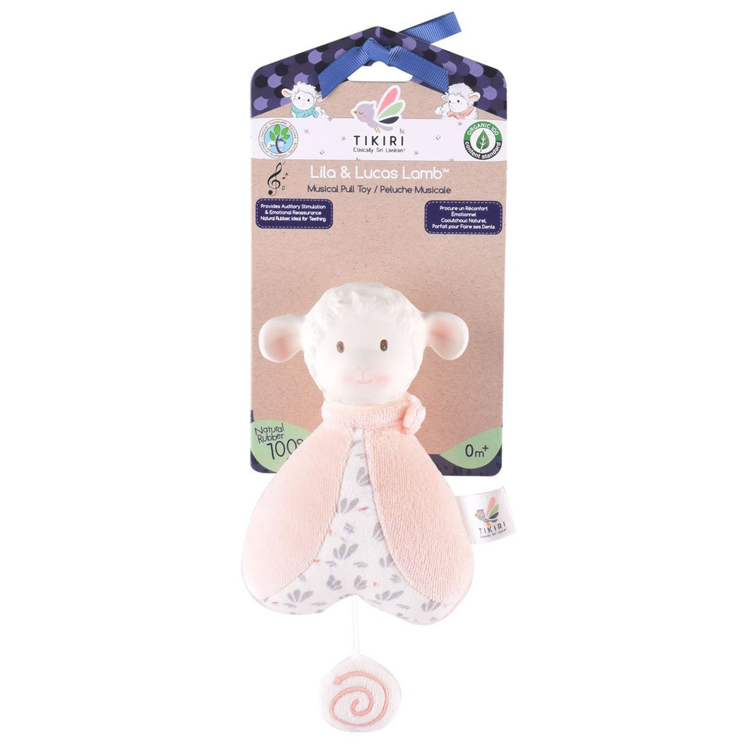 Lila Lamb Musical Toy In Pink Scarf - Tikiri Toys