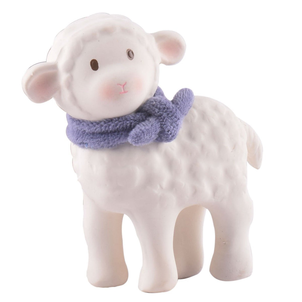 Lucas Lamb Natural Rubber Toy With Blue Scarf - Tikiri Toys