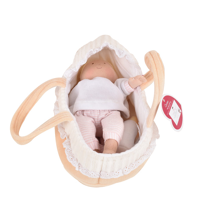 Carry Cot with Baby Grace, Bottle & Blanket - Tikiri Toys