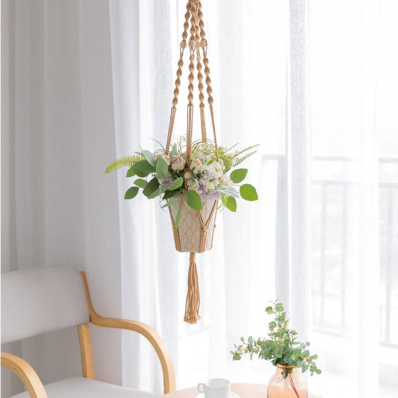 Suspension florale macramé