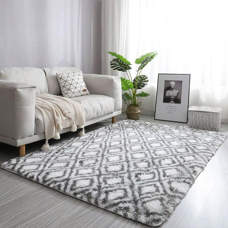 tapis losange blanc et gris-[product-type]-Ambiance Cosy