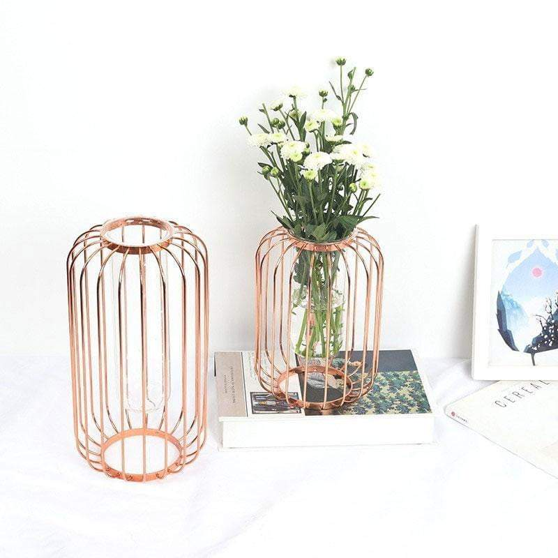 Vase Cage Vase Ambiance Cosy Or rose - 30,5 cm