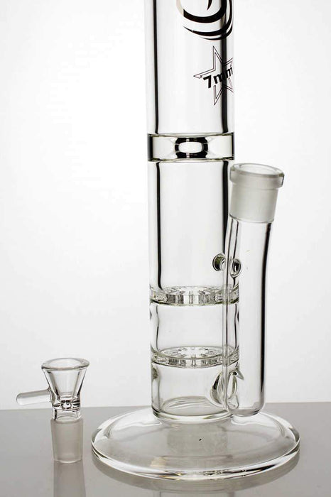 "15"" double flat diffuser heavy glass water bong - bongoutlet.com"