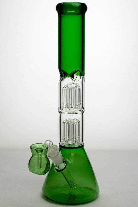 "15"" double 6 tree arms percolator glass water bong - bongoutlet.com"