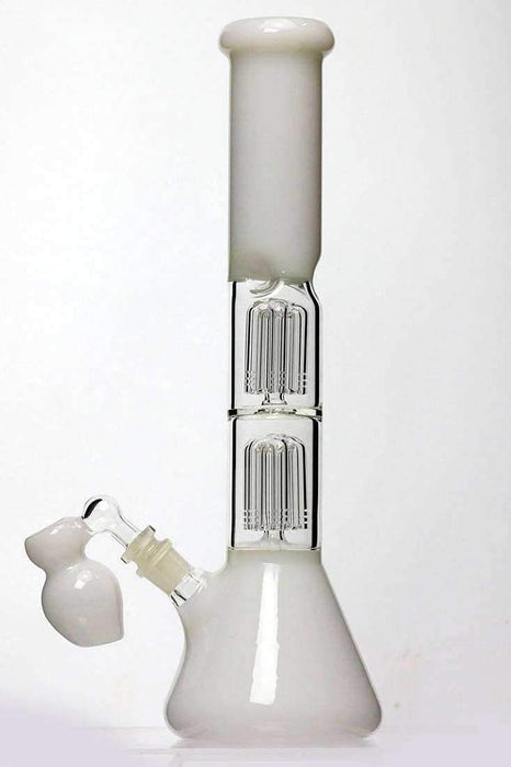 15 ihches double 6 tree arms percolator glass water bong - bongoutlet.com
