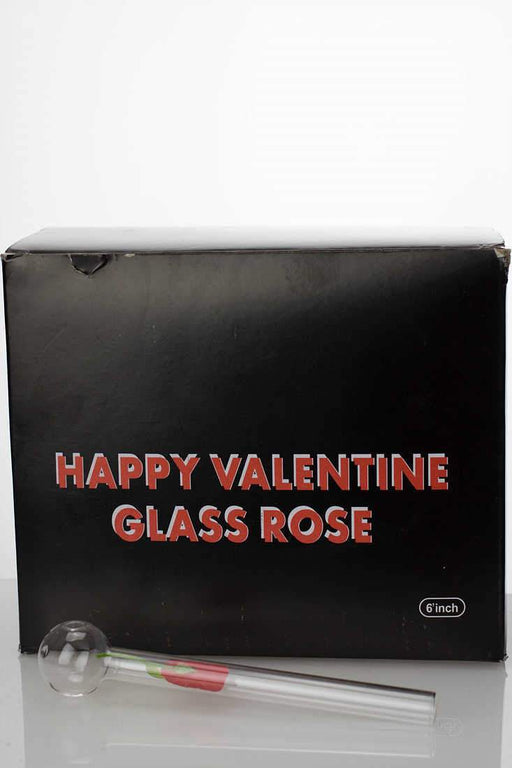 Happy valentine love rose Oil burner pipe - bongoutlet.com