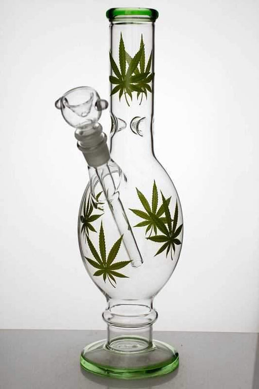 "12"" leaf printed glass water bong - bongoutlet.com"
