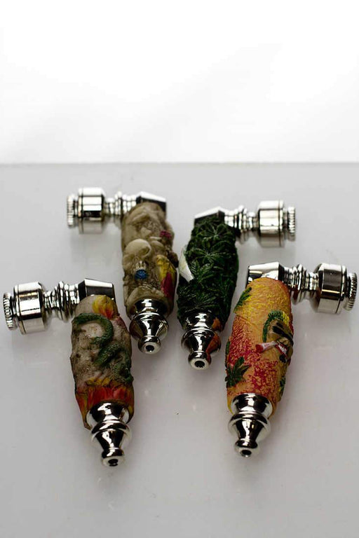 Rasta resin metal pipe with screen - bongoutlet.com