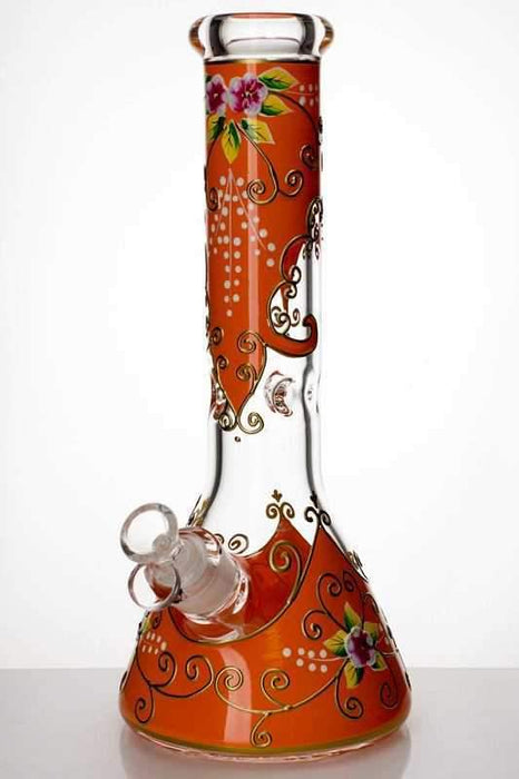 "13"" heavy glass flower artwork beaker water bong - bongoutlet.com"