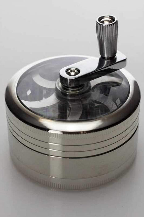 3 parts aluminium herb grinder with handle - bongoutlet.com
