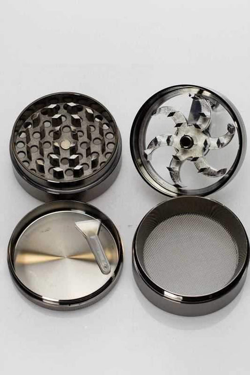 4 parts aluminium herb grinder with handle - bongoutlet.com