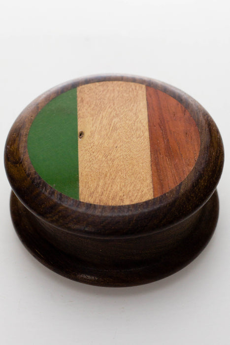 Flag painted 2 parts wooden grinder - bongoutlet.com