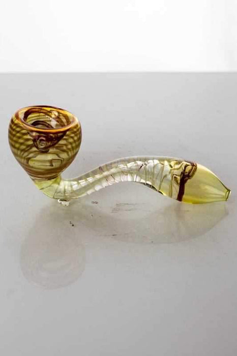Sherlock shape Changing colors glass hand pipe - bongoutlet.com