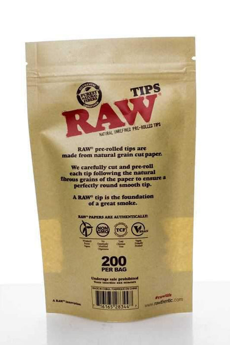 Raw Rolling paper pre-rolled filter tips 200 - bongoutlet.com