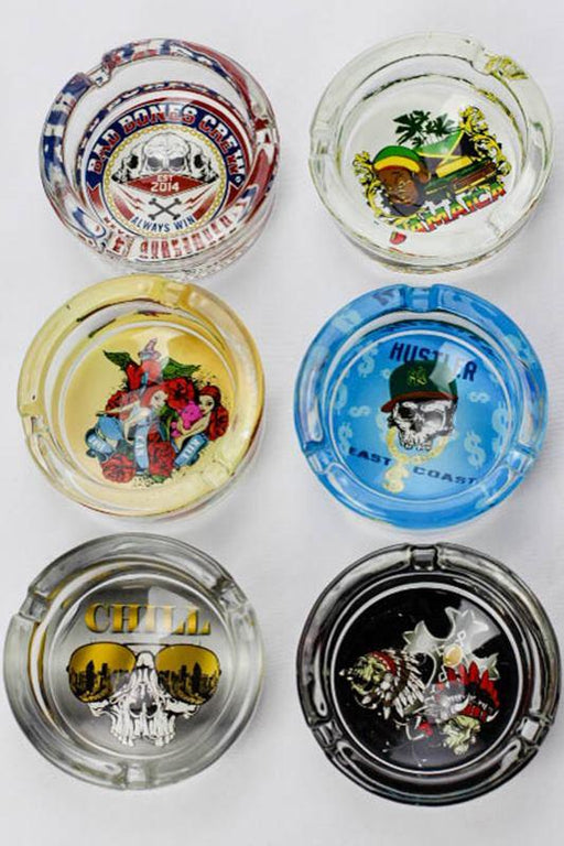 Round swag design glass ashtray - bongoutlet.com