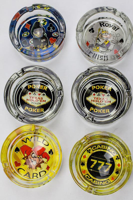 Round vegas design glass ashtray - bongoutlet.com