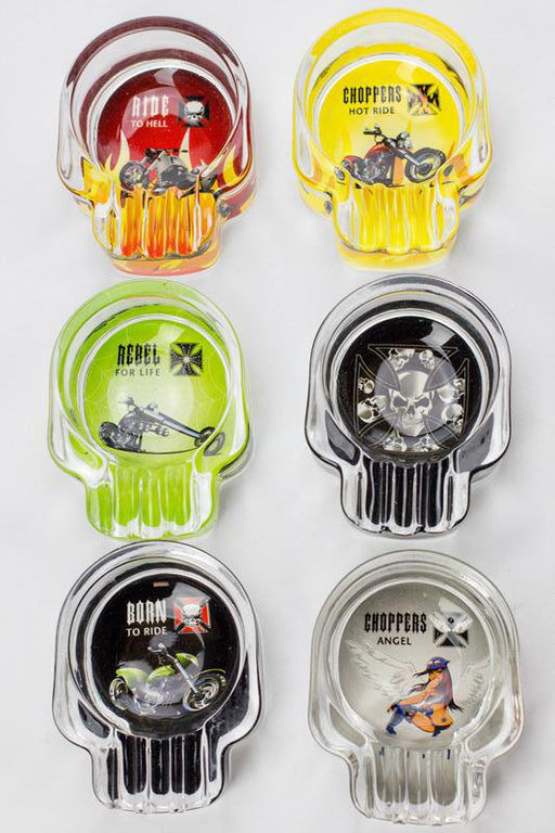 Round chopper design glass ashtray - bongoutlet.com