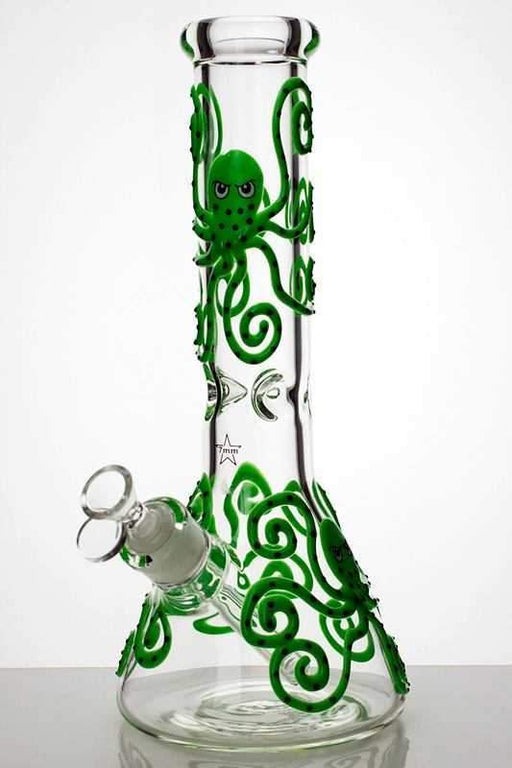 "13"" Glow in the dark octopus artwork 7 mm glass bong - bongoutlet.com"
