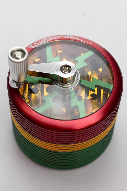 Genie 4 parts rasta herb grinder with handle - bongoutlet.com