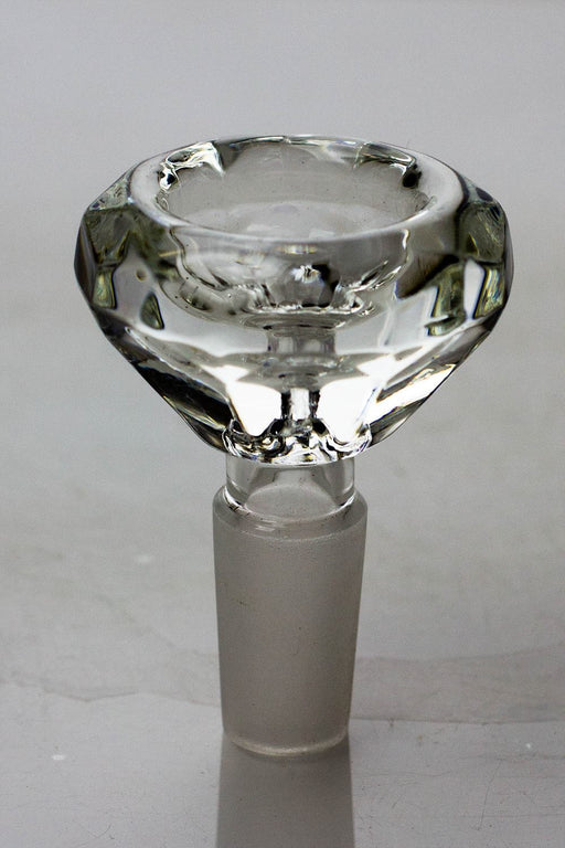 Diamond cutting shape wide glass bowl - bongoutlet.com