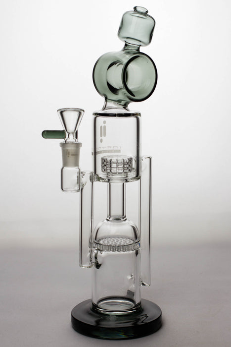 "12"" infyniti glass honey comb and shower head diffuser recycled bong - bongoutlet.com"