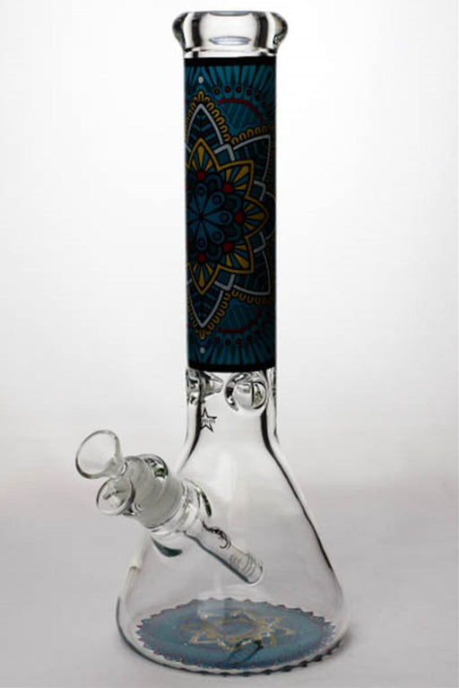 "14"" geometric design heavy glass beaker water bong - bongoutlet.com"