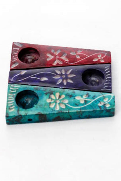 Flower engraved stone pipe pack - bongoutlet.com