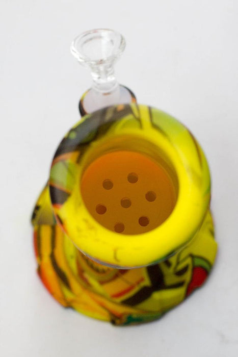 "13"" Detachable silicone yellow straight tube water bong - bongoutlet.com"