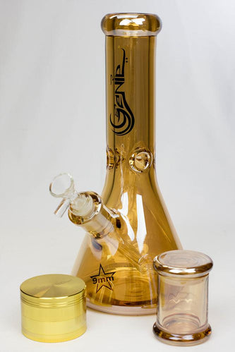 "Genie 12"" Metallic heady glass beaker bong gift set - bongoutlet.com"