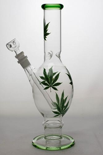 "12"" leaf printed oval shape glass water bong - bongoutlet.com"