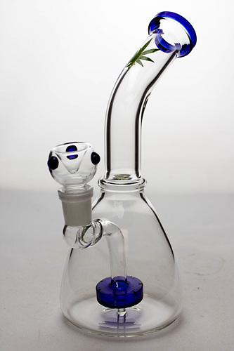 10 inches flat cylinder diffused bent neck bubbler - bongoutlet.com
