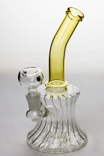 "7"" pattern glass bent neck bubbler with a diffuser - bongoutlet.com"