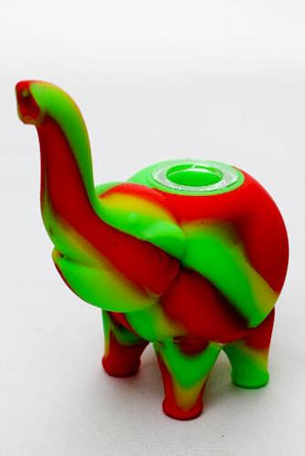 "4.5"" Genie elephant Silicone hand pipe with glass bowl - bongoutlet.com"