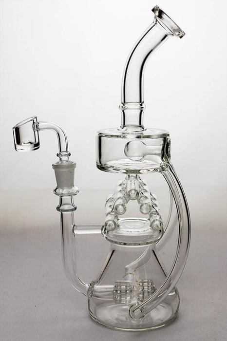 "11"" Inline shower head waffle recycled rig with a banger - bongoutlet.com"