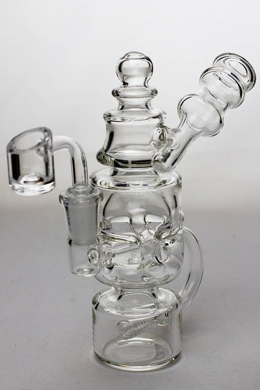 "7"" Inline diffuser recycled bubbler with a banger - bongoutlet.com"