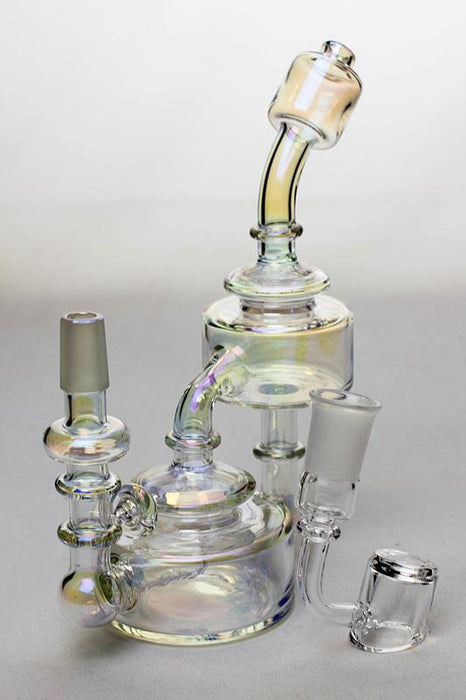 "7"" Metallic  Inline diffuser recycled rig with a banger - bongoutlet.com"
