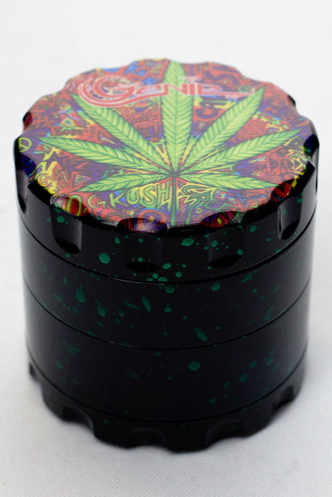 4 parts leaf printed large metal grinder - bongoutlet.com