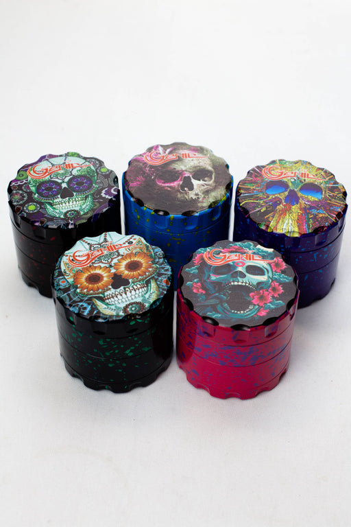 4 parts skull graphic printed large metal grinder - bongoutlet.com
