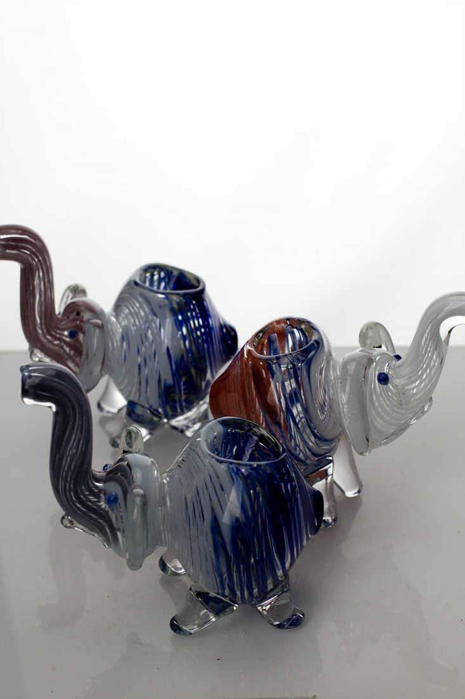 Standing elephant glass hand pipe