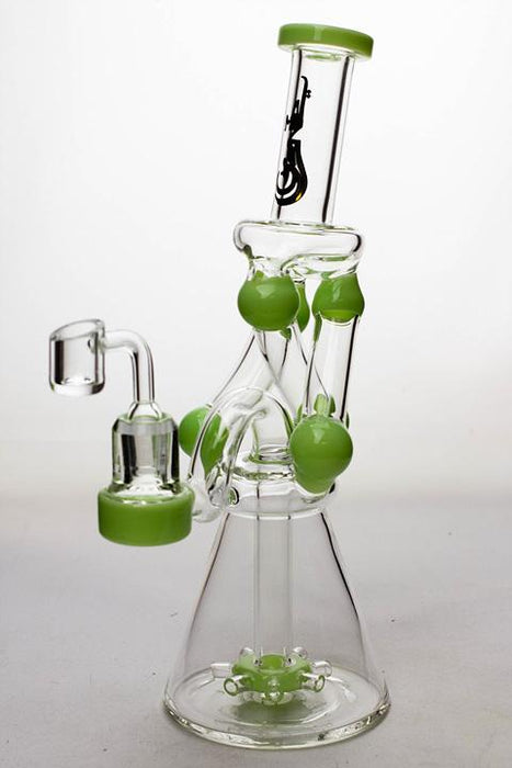 "11"" Three tube and shower head diffused recycler with a banger - bongoutlet.com"