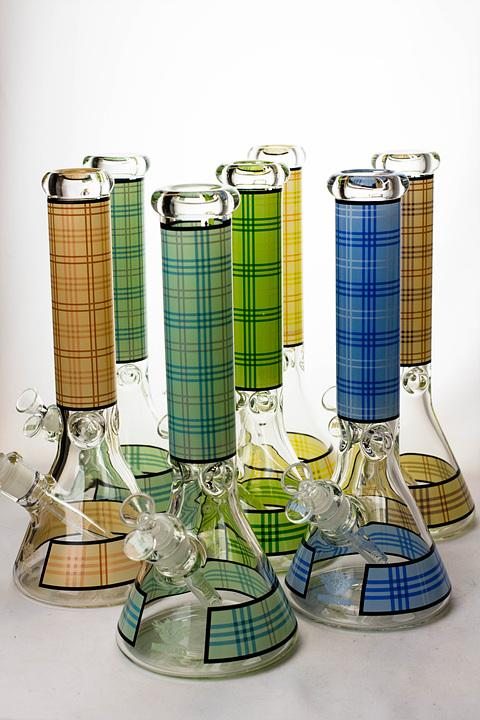 "14"" MGM glass 7 mm check pattern glass bong - bongoutlet.com"