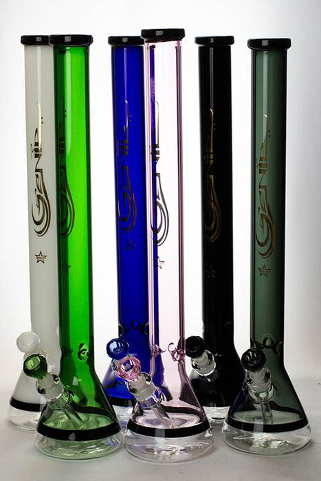 "24"" Genie 7 mm color-tube and clear-bottom beaker water bong - bongoutlet.com"