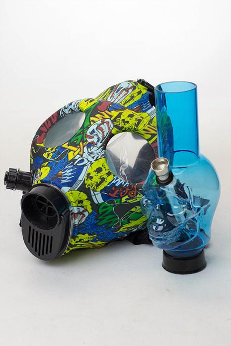 Full face graphic Silicone Gas Mask with acrylic bong - bongoutlet.com