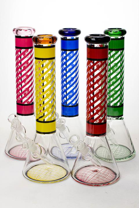"14"" stripe 7 mm glass beaker water bong - bongoutlet.com"