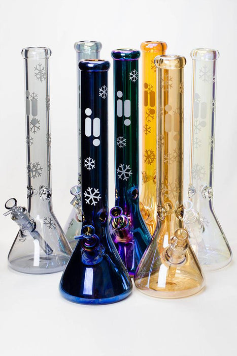 "18"" Infyniti Snowflake 7 mm metallic glass water bong"