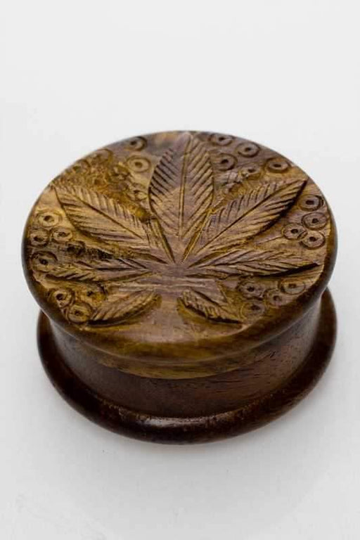 Leaf carved  2 parts wooden grinder - bongoutlet.com